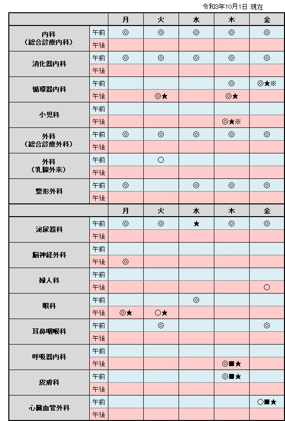 外来診療日程表